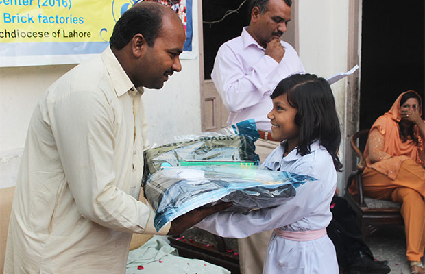 Girl receiving Action Pack
