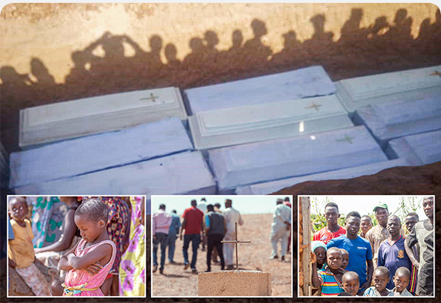 Collage of Nigerian people; graves